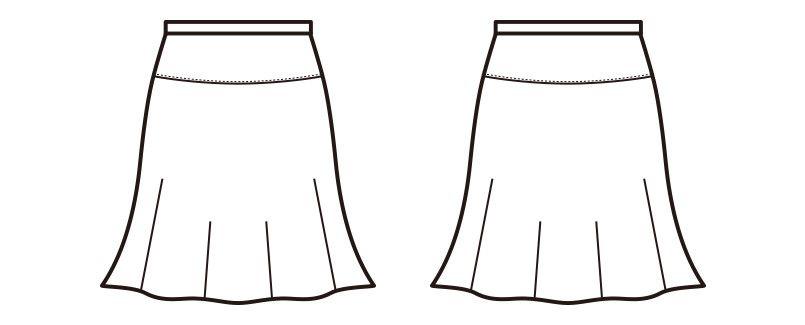 en joie(アンジョア) 51513 [通年]ソフトな膨らみと光沢感が魅力のフレアースカート 無地 ハンガーイラスト・線画