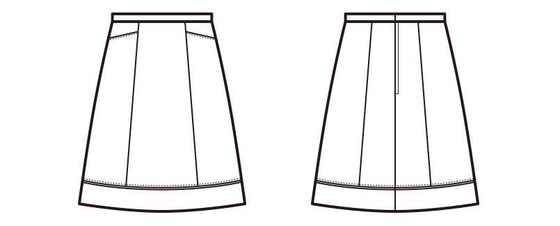 en joie(アンジョア) 51522 [通年]上品可愛いベージュのAラインスカート 無地 ハンガーイラスト・線画