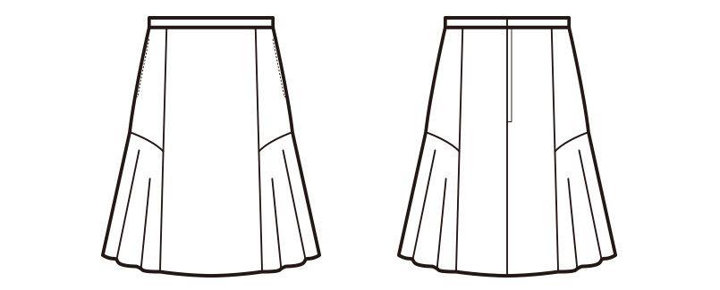 en joie(アンジョア) 51623 [通年]2WAYストレッチ!柔らかマットな黒無地のフレアースカート ハンガーイラスト・線画
