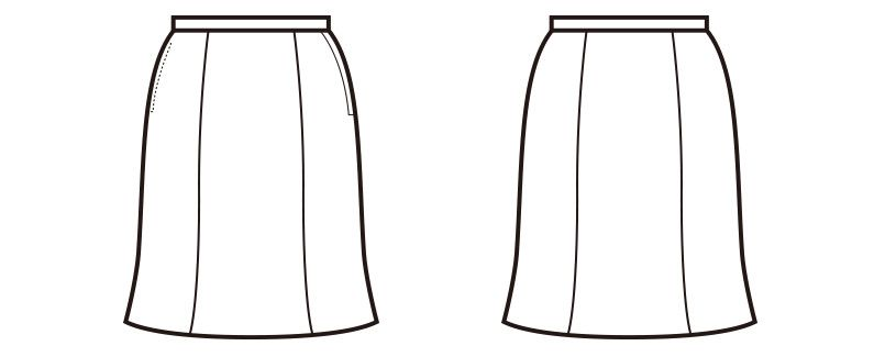 en joie(アンジョア) 51642 [通年]しなやかで快適な着心地のマーメイドスカート 無地 ハンガーイラスト・線画