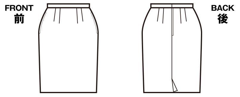 en joie(アンジョア) 56150 [春夏用]清涼感があり定番シルエットのタイトスカート 無地 ハンガーイラスト・線画