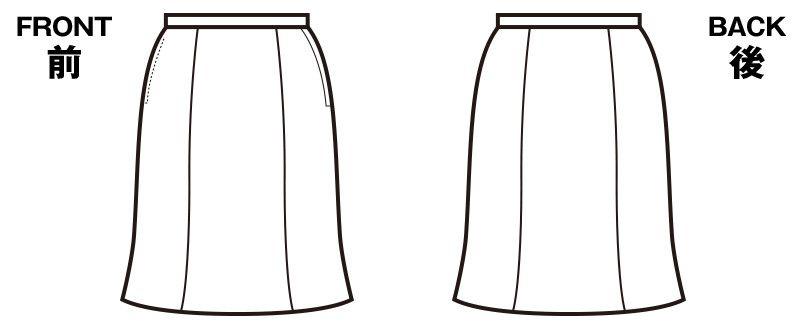 en joie(アンジョア) 56302 [春夏用]夏に適した清涼感ある素材のマーメイドスカート 無地 ハンガーイラスト・線画