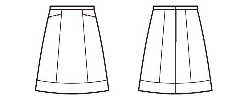 en joie(アンジョア) 56303 [春夏用]2WAYストレッチでシワになりにくいAラインスカート 無地 ハンガーイラスト・線画