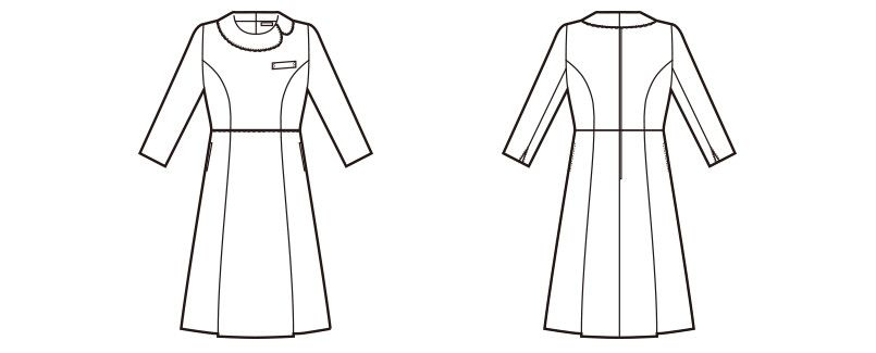 en joie(アンジョア) 61680 [通年]優しい雰囲気のネックラインで大人可愛い七分袖ワンピース(女性用) ツイード×無地 ハンガーイラスト・線画