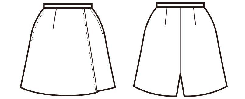 en joie(アンジョア) 71075 [通年]ラップキュロット 無地(45cm丈) ハンガーイラスト・線画