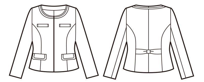 en joie(アンジョア) 81430 [秋冬用]リッチ感あふれるノーカラーがツイードで大人の雰囲気漂うジャケット ハンガーイラスト・線画