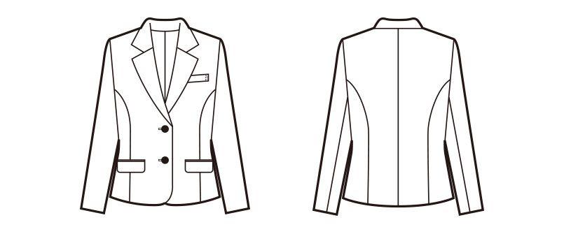 en joie(アンジョア) 81620 すっきりきれいなシルエットのストレッチジャケット 無地 ハンガーイラスト・線画