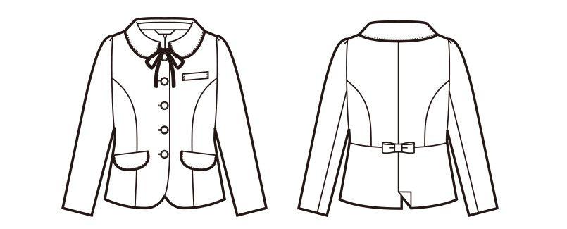en joie(アンジョア) 81650 [秋冬用]上質感あふれるディテールで品格あるジャケット(リボン付き) 無地 ハンガーイラスト・線画