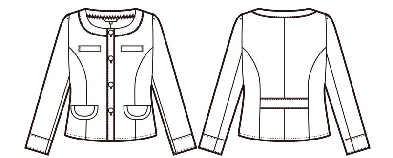 en joie(アンジョア) 81690 [通年]ツイードの配色が上品で清潔感のあるニットジャケット 無地 ハンガーイラスト・線画