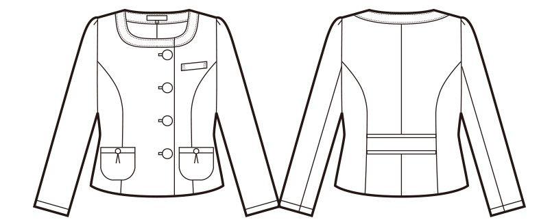 en joie(アンジョア) 81730 [秋冬用]知的エレガンスで高級感のあるブルーツイード素材ジャケット ハンガーイラスト・線画