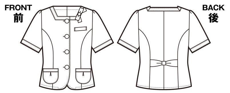 en joie(アンジョア) 86370 [春夏用]モダンなボーダー×ミルクティーのような色合いのサマージャケット(ブローチ付) ハンガーイラスト・線画