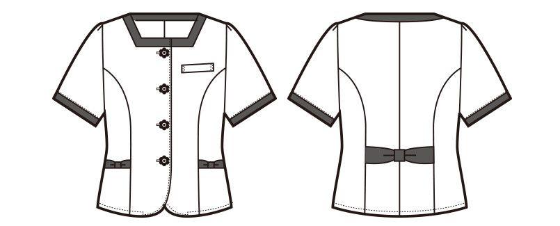 en joie(アンジョア) 86415 [春夏用]スクエア襟×ネイビーの配色!ボーダー柄のサマージャケット ハンガーイラスト・線画