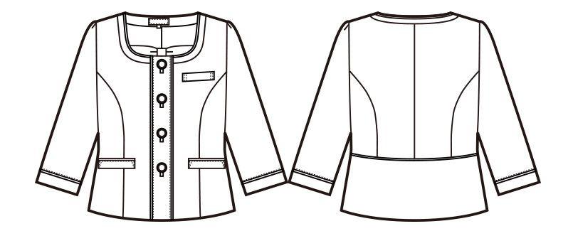en joie(アンジョア) 86460 [春夏用]清楚で上品なジャケット(胸元リボン付き) 無地 ハンガーイラスト・線画
