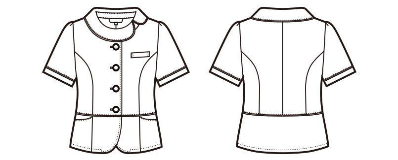 en joie(アンジョア) 86465 [春夏用]丸みのあるアシンメトリーの襟が優しいサマージャケット 無地 ハンガーイラスト・線画
