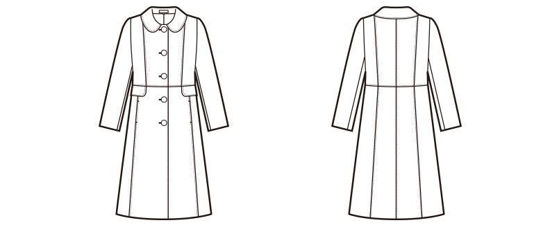 en joie(アンジョア) 9000 上質な紡毛糸で暖かく肌さわりのよいロング丈コート 無地 ハンガーイラスト・線画