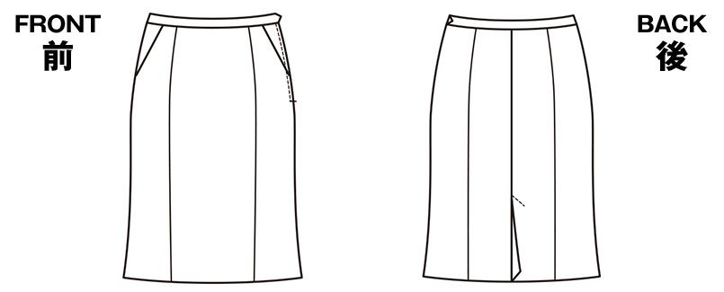 EAS476 enjoy セミタイトスカート 無地 ハンガーイラスト・線画