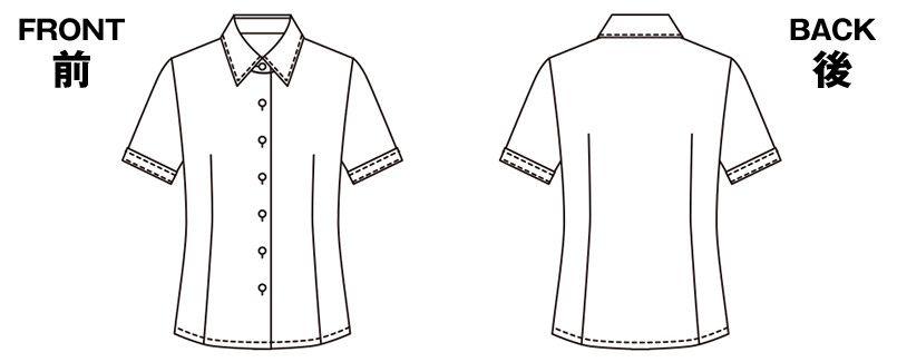ESB442 enjoy オールシーズン気持ちいい!体温調節機能で快適な半袖ブラウス ハンガーイラスト・線画