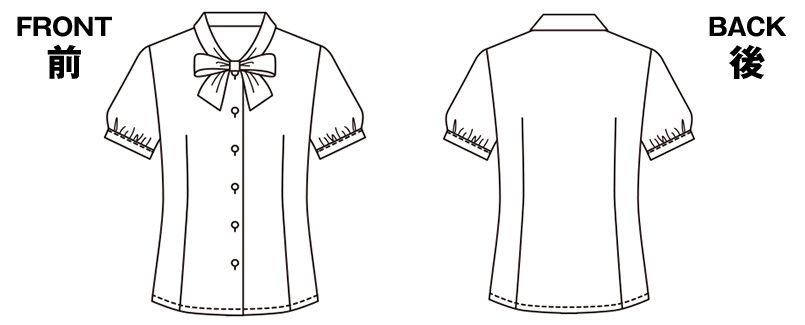 [在庫限り/返品交換不可]ESB443 enjoy オールシーズン気持ちいい!体温調節機能で快適な半袖ブラウス ハンガーイラスト・線画