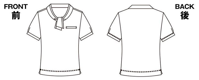 ESP404 enjoy [春夏用]愛らしさを品よく生み出す繊細なフレンチドットのオフィスポロシャツ 無地 ハンガーイラスト・線画