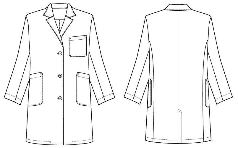 [ネット限定商品]81-481 MONTBLANC レディス診察衣(ドクターコート) シングル 長袖 ハンガーイラスト・線画