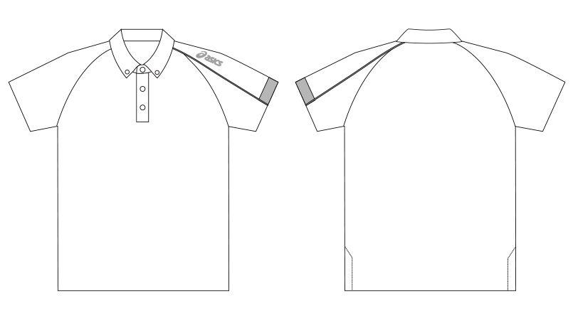 CHM305 アシックス(asics) 半袖ポロシャツ(男女兼用) ハンガーイラスト・線画