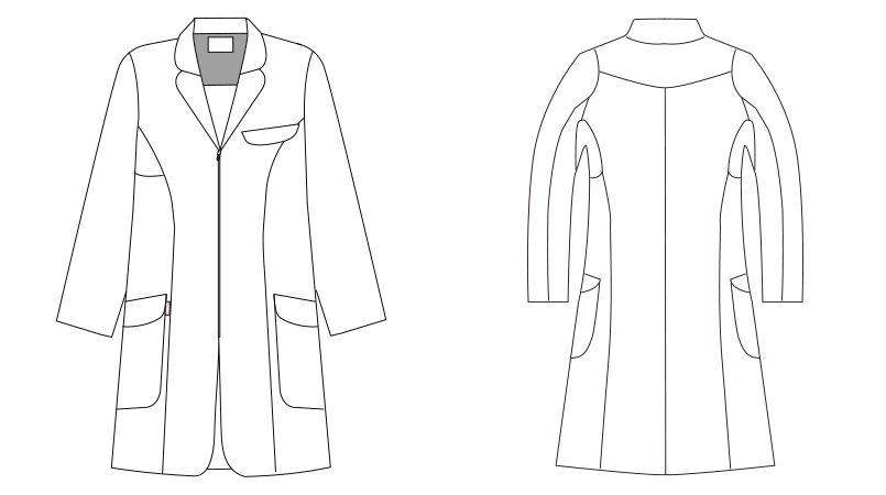 LKM201-0100 アシックス(asics) ドクターコート(女性用) ハンガーイラスト・線画