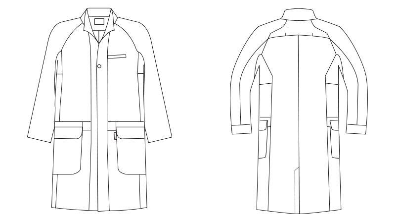LKM701-0100 アシックス(asics) 長袖ドクターコート(男性用) ハンガーイラスト・線画