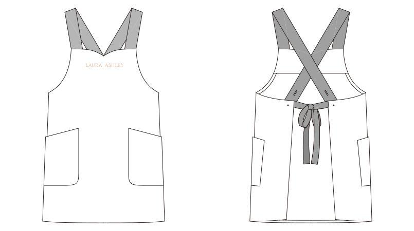 LW503 ローラ アシュレイ 胸当てエプロン(女性用)WLT ハンガーイラスト・線画