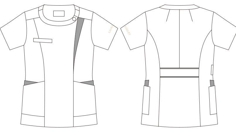 LW601 ローラ アシュレイ 半袖ナースジャケット(女性用) ハンガーイラスト・線画