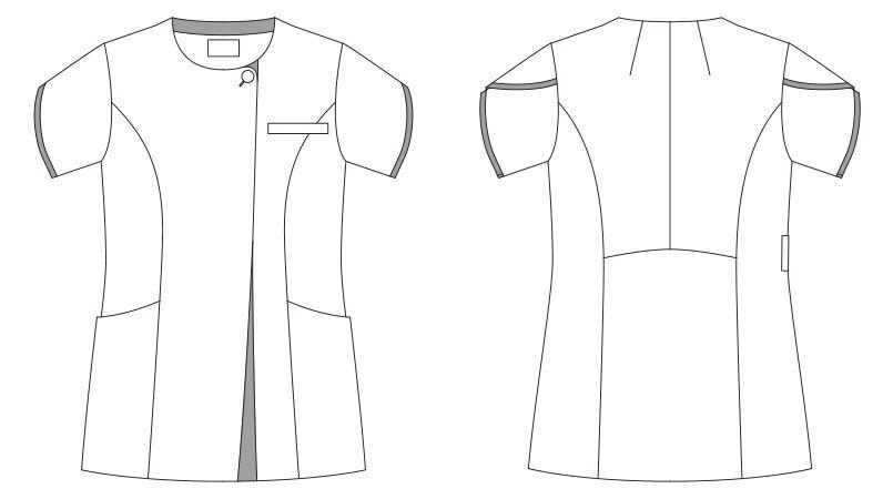 LW802 ローラ アシュレイ 半袖ナースジャケット(女性用) ハンガーイラスト・線画