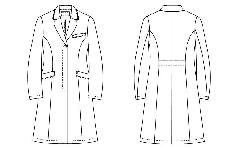 EH3710 ナガイレーベン(nagaileben) ビーズベリー ドクターコート(女性用) ハンガーイラスト・線画