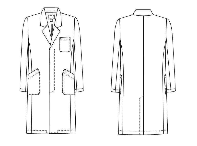 EM3015 ナガイレーベン(nagaileben) エミット シングル診察衣長袖 ショート丈(男性用) ハンガーイラスト・線画