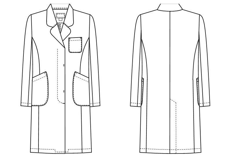 EM3035 ナガイレーベン(nagaileben) エミット シングル診察衣長袖(女性用) ハンガーイラスト・線画