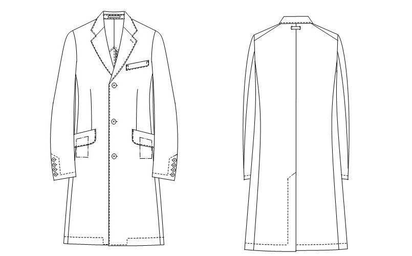 [送料無料]FD4020 ナガイレーベン(nagaileben) シングル診察衣長袖(AB体・ゆったり)(男性用) ハンガーイラスト・線画