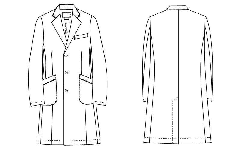 HE4950 ナガイレーベン(nagaileben) ホスパースタット シングルドクターコート(男性用) ハンガーイラスト・線画