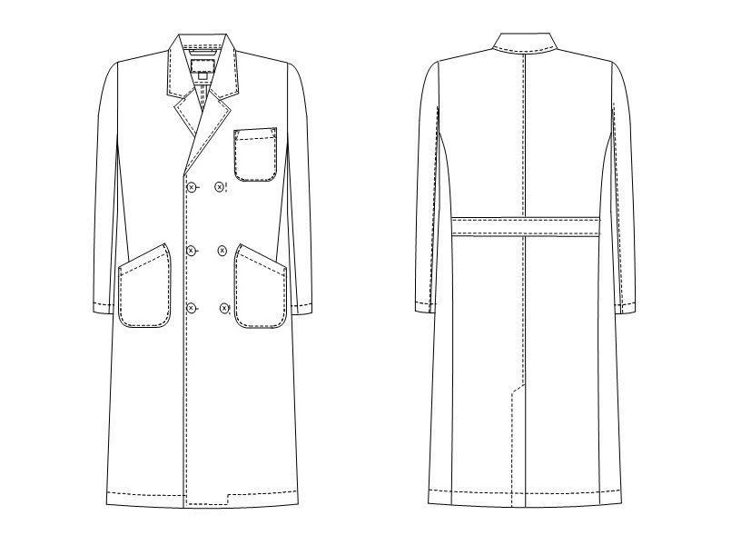 HK10 ナガイレーベン(nagaileben) ホスパーニット ダブル診察衣長袖(男性用) ハンガーイラスト・線画
