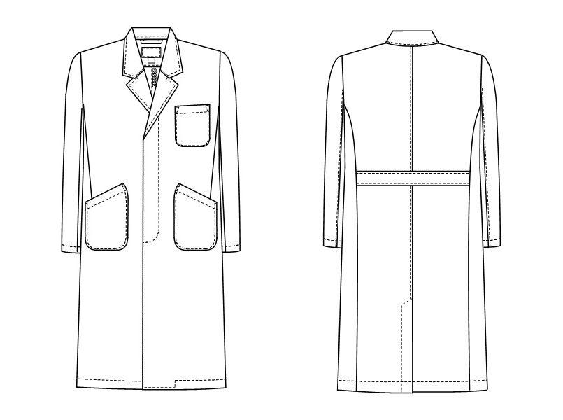HK11 ナガイレーベン(nagaileben) ホスパーニット シングル診察衣長袖(男性用) ハンガーイラスト・線画