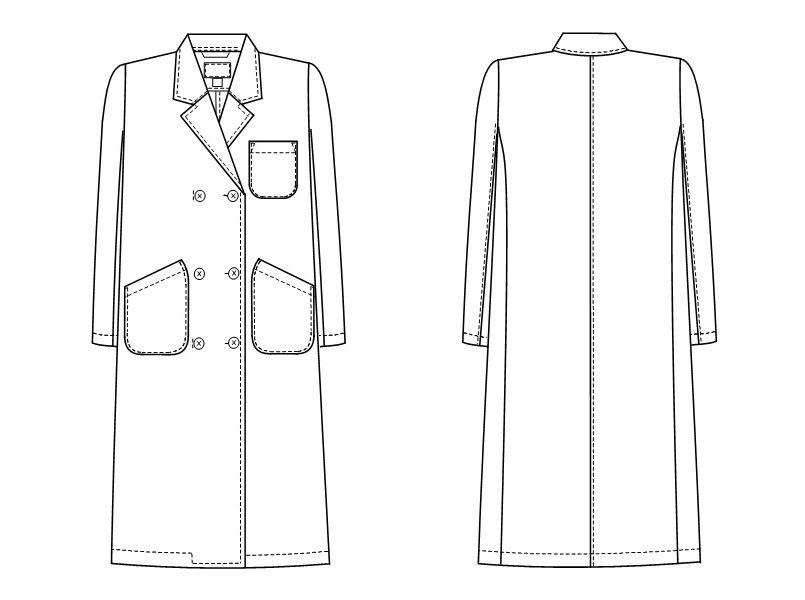 HK12 ナガイレーベン(nagaileben) ホスパーニット ダブル診察衣/長袖(女性用) ハンガーイラスト・線画