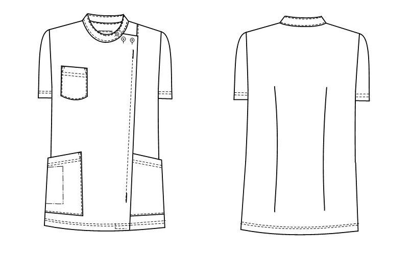 HO4972 ナガイレーベン(nagaileben) ホスパースタット 横掛半袖(女性用) ハンガーイラスト・線画