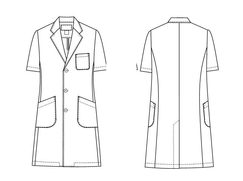 KEX5112 ナガイレーベン(nagaileben) ケックスター シングル半袖診察衣(男性用) ハンガーイラスト・線画