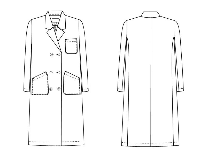 KEX5120 ナガイレーベン(nagaileben) ケックスター ダブル診察衣/長袖(女性用) ハンガーイラスト・線画