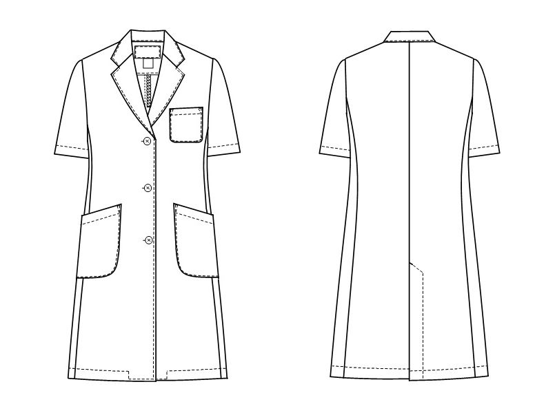 KEX5132 ナガイレーベン(nagaileben) ケックスター シングル半袖診察衣(女性用) ハンガーイラスト・線画