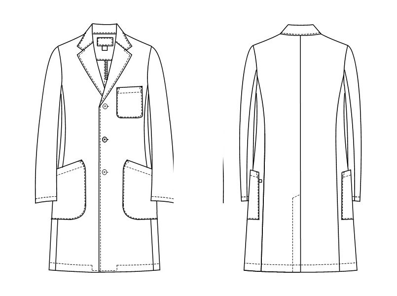 KEX5180 ナガイレーベン(nagaileben) ケックスター シングル診察衣(男性用) ハンガーイラスト・線画