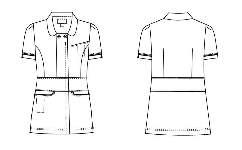 LH6212 ナガイレーベン(nagaileben) ビーズベリー ナースジャケット(女性用) ハンガーイラスト・線画