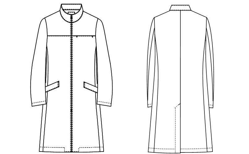 SD3070 ナガイレーベン(nagaileben) ビーズベリー ドクターコート長袖(男性用) ハンガーイラスト・線画