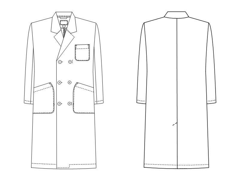 TAP60 ナガイレーベン(nagaileben) ドクタートップ ダブル診察衣長袖(男性用) ハンガーイラスト・線画