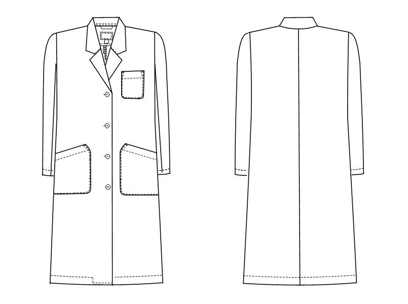 TAP75 ナガイレーベン(nagaileben) ドクタートップ シングル診察衣/長袖(女性用) ハンガーイラスト・線画