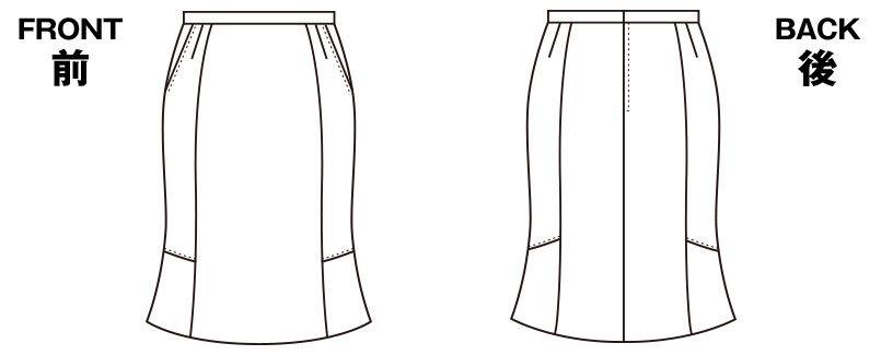 S-15610 SELERY(セロリー) [通年]洗ったらすぐに乾く!イージーケアのマーメイドスカート 無地 ハンガーイラスト・線画