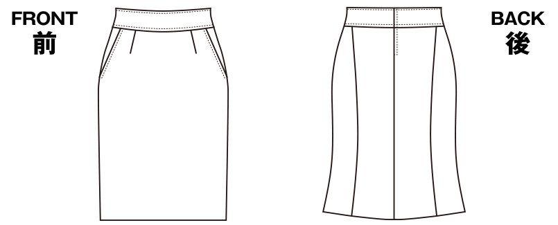 SELERY(セロリー) S-15920 [通年]魅せスカート(メリハリキレイ) 無地 ハンガーイラスト・線画