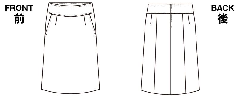 S-15930 SELERY(セロリー) [通年]セミAラインスカート(ゆったりキレイ) 無地 ハンガーイラスト・線画